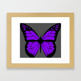 Purple Butterfly Art With Grey Background Framed Art Print