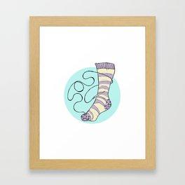Sock Darning SOS Framed Art Print
