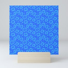 Amoeba Print, Blue on Blue Mini Art Print