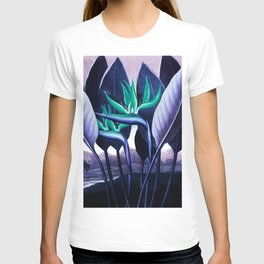 Birds of Paradise Temple of Flora Blue Mint T-shirt