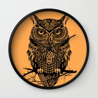 warrior Wall Clocks featuring Warrior Owl 2 by Rachel Caldwell