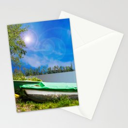 two boats at a lake Stationery Cards