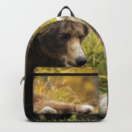 Group Of Marvellous Grizzly Bears Relaxing On Meadow Ultra HD Backpack