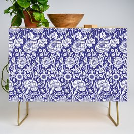"""William Morris Floral Pattern   """"Pink and Rose"""" in Navy Blue and White Credenza"""