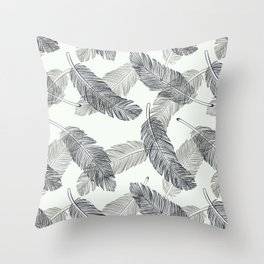 Black Feathers, Pattern Throw Pillow