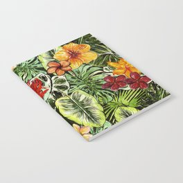 Tropical Vintage Exotic Jungle Flower Flowers - Floral watercolor pattern Notebook