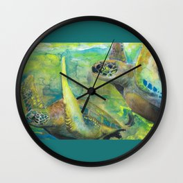 """Giant Sea Turtle Watercolor Fine Art Print Reproduction Painting """"The Lovers"""" Wall Clock"""