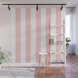 Light red pink -  solid color - white vertical lines pattern Wall Mural
