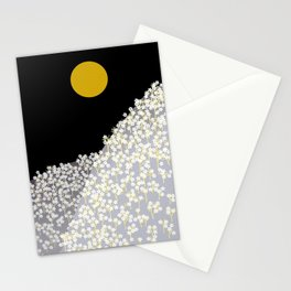 Japanese Sumi Print - Yellow Sun with flowers Stationery Cards