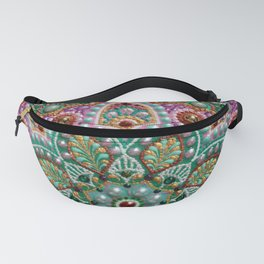 Green and Pink boho mandala, dot art Fanny Pack