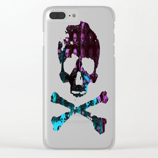 Deaths Frozen Blanket Skulls: Pink And Blue Clear iPhone Case