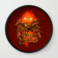 pocket Wall Clocks featuring Pocket Calcifer by Natalie