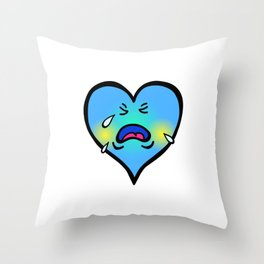 Crying Blue Heart Throw Pillow