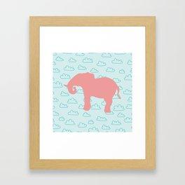 Pink Elephant and clouds , nursery decor Framed Art Print