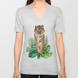 watercolor illustration of a tropical laves and Tiger Unisex V-Neck