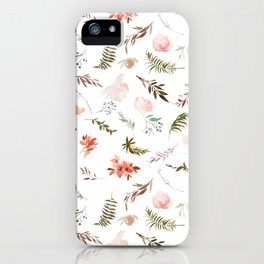 Coral pink green watercolor hand painted floral iPhone Case