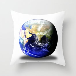 Earth Globe East Shadow Throw Pillow