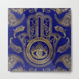 Hamsa Hand  - gold on lapis lazuli Metal Print
