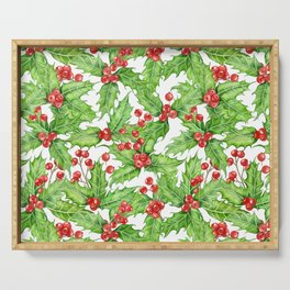 Holly berry watercolor Christmas pattern Serving Tray