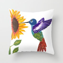 The Sunflower And The Hummingbird Throw Pillow