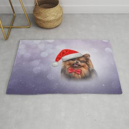 Dog Pomeranian Spitz in red hat of Santa Claus Rug