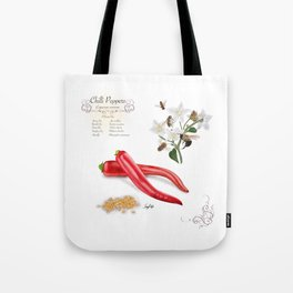 Chilli Peppers and Pollinators Tote Bag
