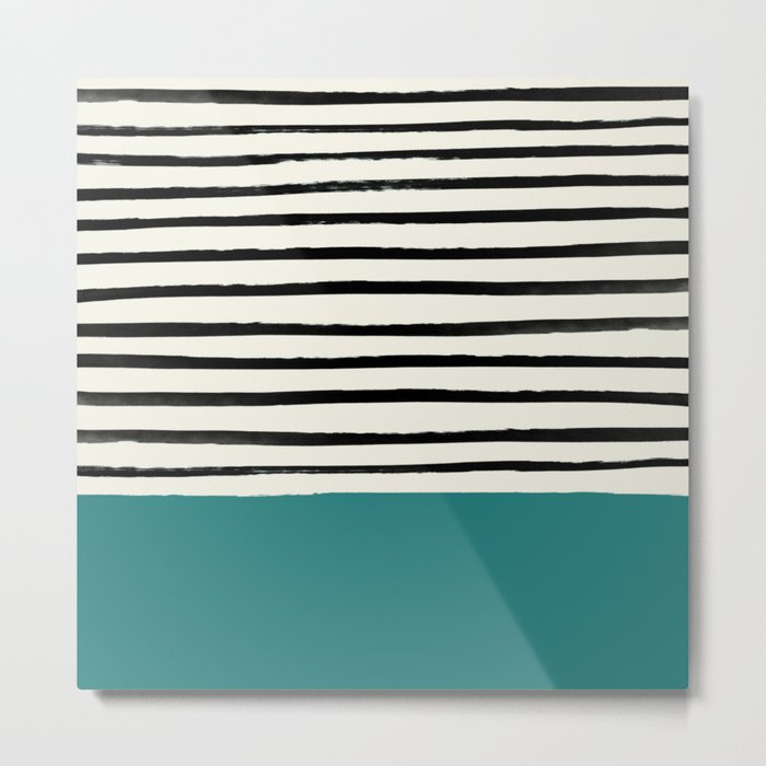 Teal x Stripes Metal Print