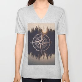 Rose Gold Compass Forest Unisex V-Neck