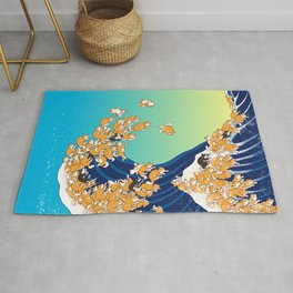 Shiba Inu in Great Wave Rug