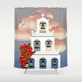 Island Santorini sunset White belfry with bougainvillea from Greece Shower Curtain