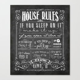 House Rules Retro Chalkboard Canvas Print