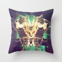 saga Throw Pillows featuring Galactic Cats Saga 1 by Carolina Nino