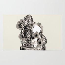 Life on a pedestal, floral skull Rug