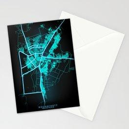 Nouakchott, Mauritania, Blue, White, Neon, Glow, City, Map Stationery Cards