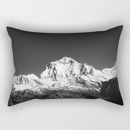 Monochrome Black and White Himalaya Mountain Range. Annapurna, Nepal. Nature Photography. Rectangular Pillow
