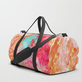 Paint Splatter Turquoise Orange And Pink Duffle Bag