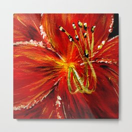 Red and Red Orange Daylily Metal Print