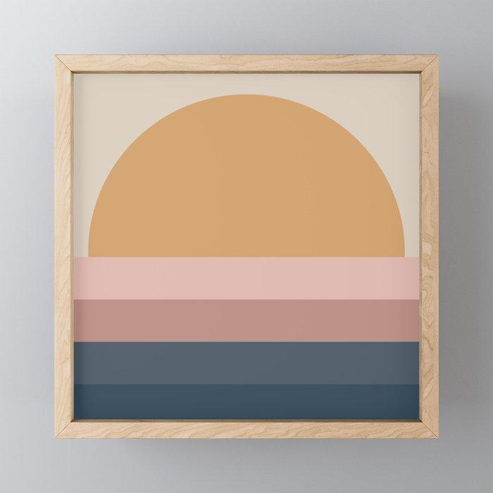 Minimal Retro Sunset - Neutral Framed Mini Art Print