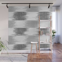Modern black gray white ikat pattern Wall Mural