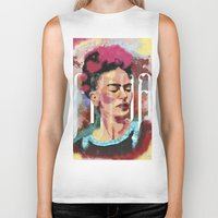 frida Biker Tanks featuring Frida by Juan Alonzo