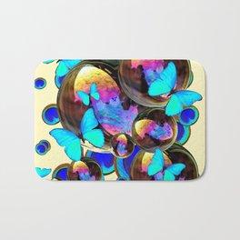 IRIDESCENT  BUBBLES BLUE BUTTERFLIES PEACOCK EYES ART DESIGN decor, furnishings Bath Mat