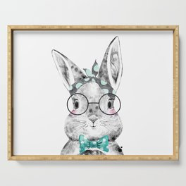 Bunny with Scarf and Bowtie Serving Tray
