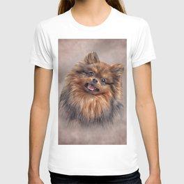 Drawing Dog Pomeranian Spitz T-shirt