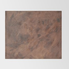 Old Tan Leather Print Texture | Cowhide Throw Blanket