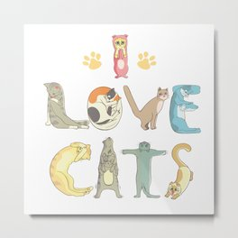 I love cats cute print Metal Print