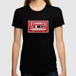 Retro Style Music Cassette in Red T-shirt