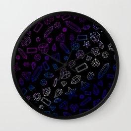 Holographic Gems Pattern Black Wall Clock