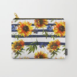 Stripes and Sunflowers Carry-All Pouch