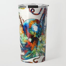 Colorful Octopus Art by Sharon Cummings Travel Mug