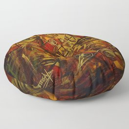 Indigenous Inca Faces and Ancestors - Renacer en el Tiempo portrait painting by Ortega Maila Floor Pillow